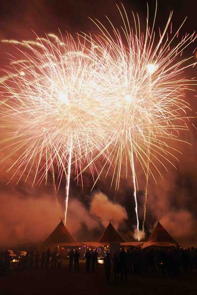 Private events fireworks display tipi