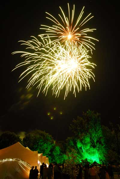 Private events fireworks display marquee